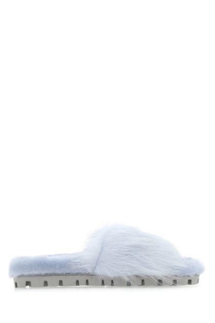 Powder blue shearling slippers