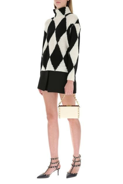 Ivory leather Rockstud Alcove clutch