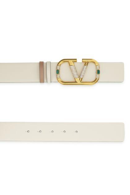 Ivory leather VLogo Signature reversible belt