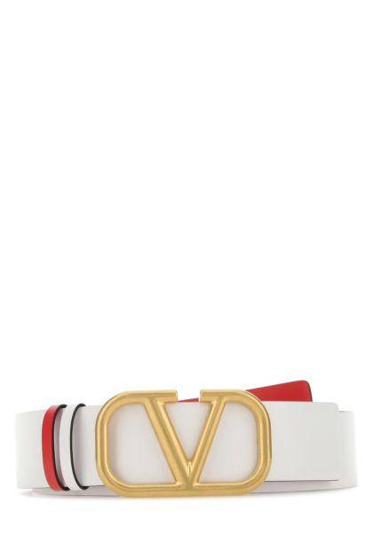 White leather VLogo Signature reversible belt