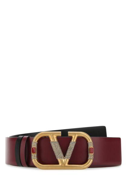 Burgundy leather VLogo Signature reversible belt