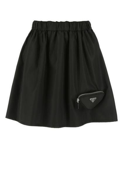Black Re-Nylon mini skirt