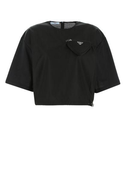 Black cotton and Re-nylon t-shirt
