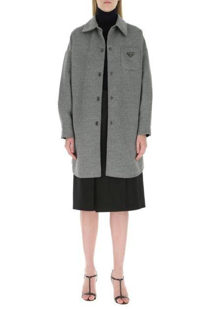 Melange grey wool blend coat