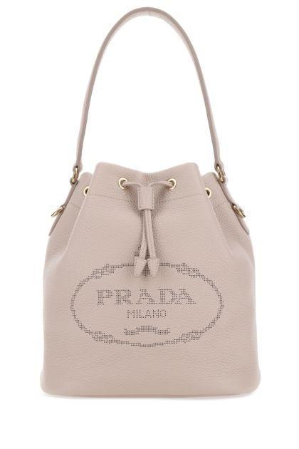 Powder pink leather bucket bag