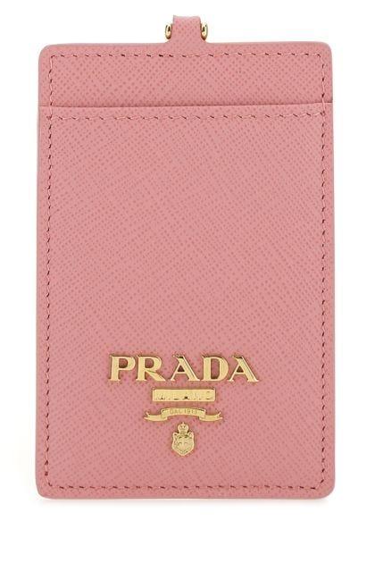 Pink leather badge holder