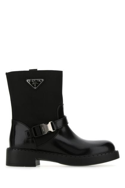 Black leather and Re-Nylon boots