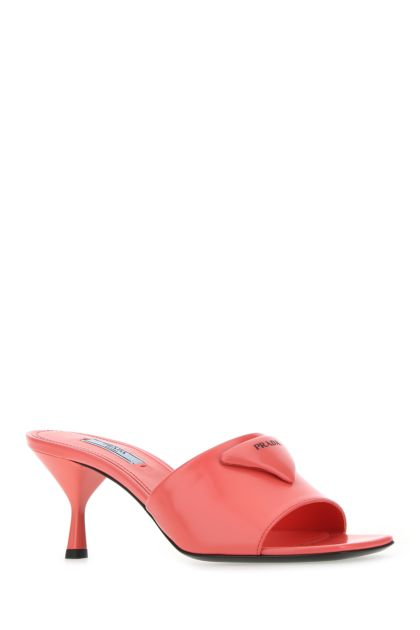 Coral leather mules