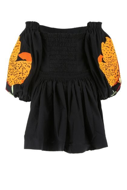 Black cotton Lilies mini dress