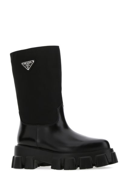 Black Re-Nylon and leather boots