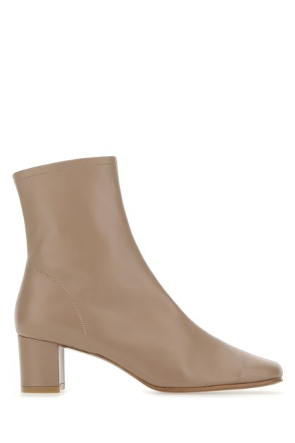 Cappuccino leather Sofia ankle boots