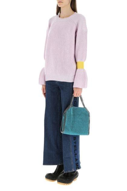 Petrol blue lame mini Falabella handbag