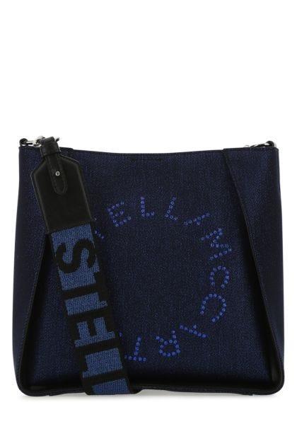 Blue fabric mini Stella Logo crossbody bag