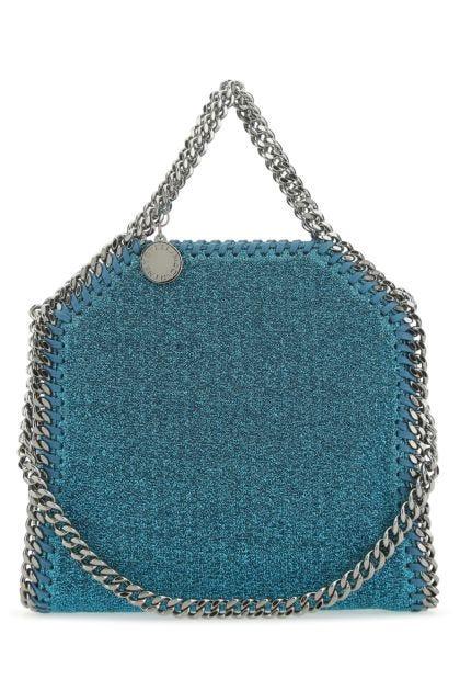 Petroleum lame micro Falabella handbag