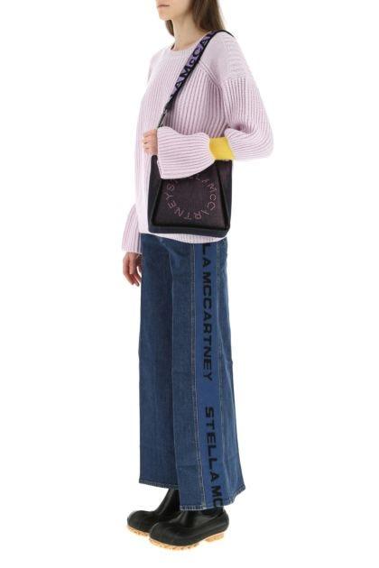 Purple fabric mini Stella Logo crossbody bag