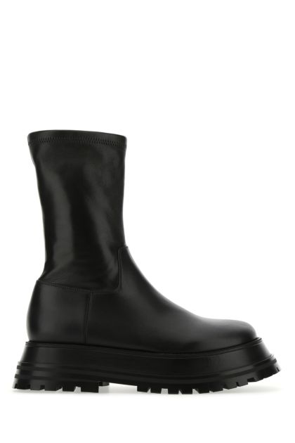 Black leather and nappa leather boots