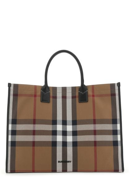 Embroidered canvas shopping bag
