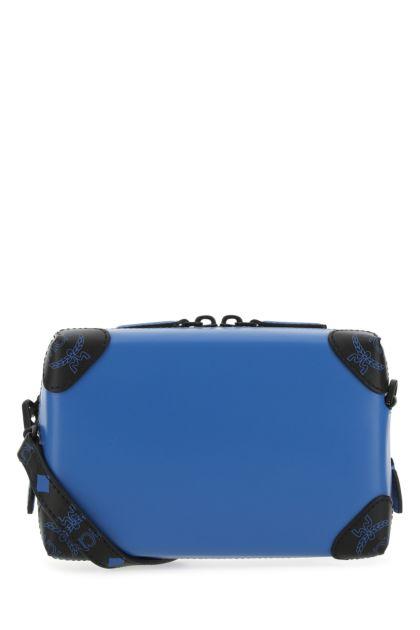 Blue leather crossbody bag