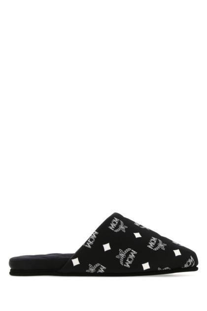 Printed satin slippers