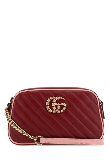 Burgundy leather small GG Marmont crossbody bag