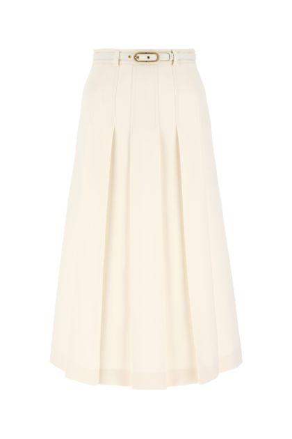 Ivory silk blend skirt