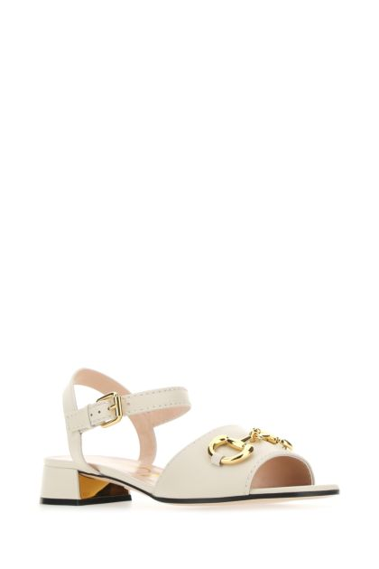 Ivory nappa leather sandals