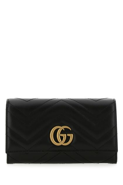 Black leather GG Marmont wallet
