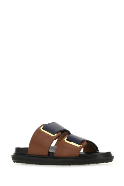 Two-tone leather slippers