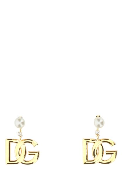 Gold metal pendant earrings
