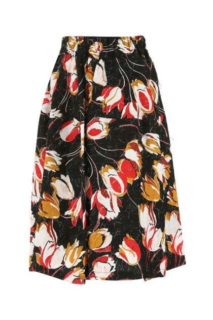 Printed viscose blend skirt