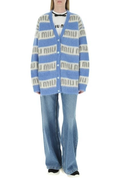 Embroidered mohair blend cardigan