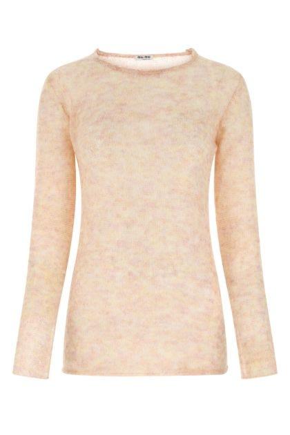 Melange pastel pink mohair blend sweater