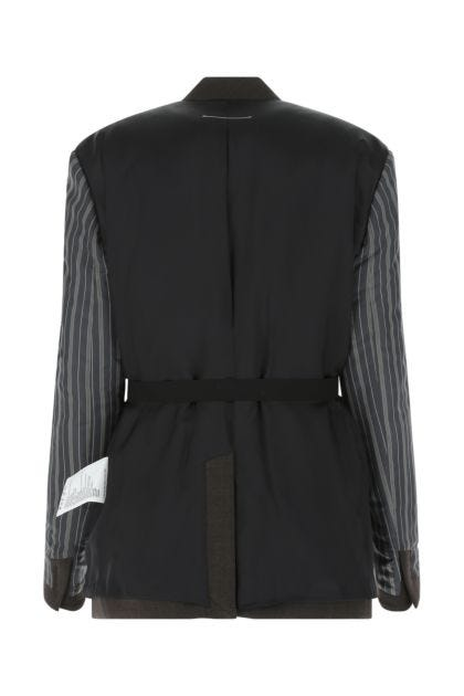 Multicolor stretch polyester blend blazer
