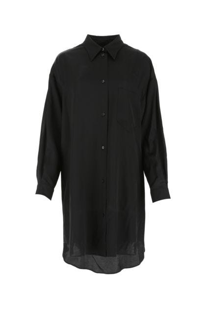 Black viscose shirt dress