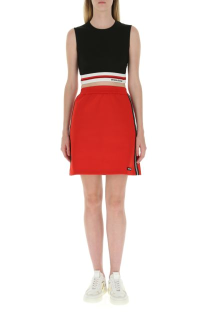 Red stretch polyester mini skirt