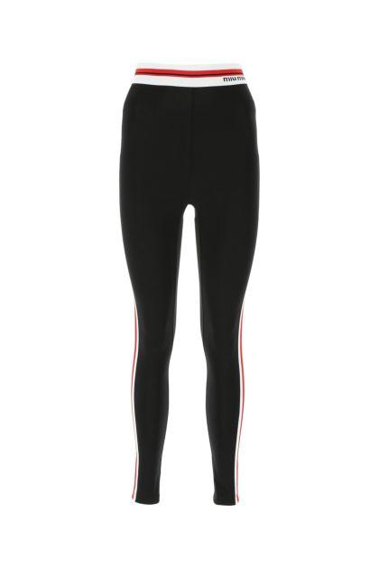 Black stretch cotton leggings