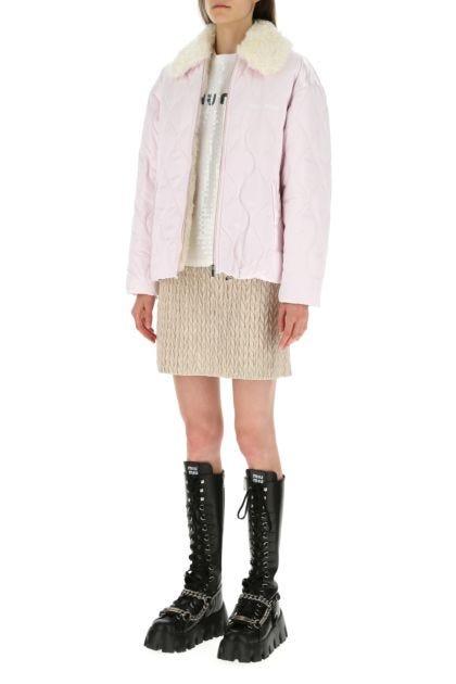 Pastel pink nylon padded jacket