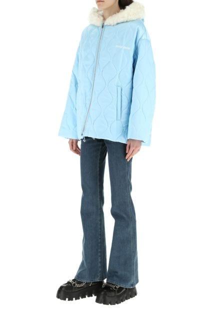 Light blue nylon padded jacket