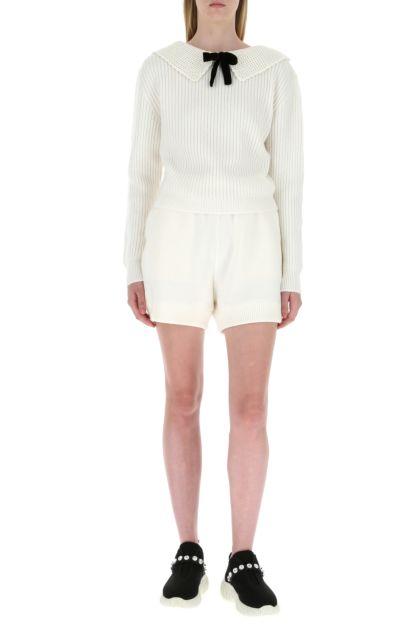 Ivory wool blend shorts