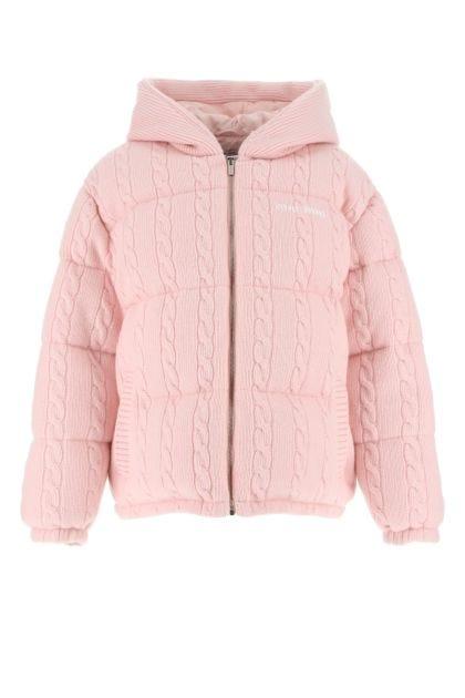 Pastel pink wool blend down jacket