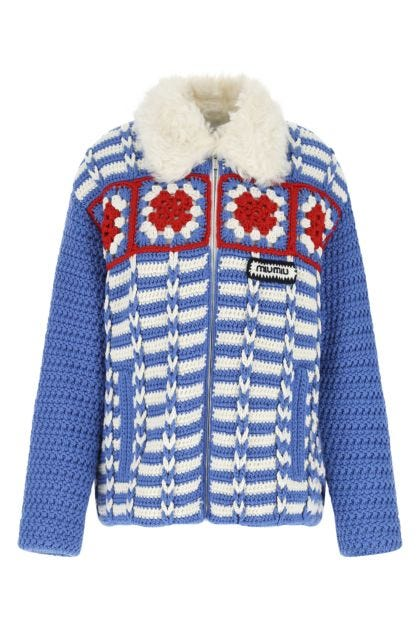 Embroidered wool padded jacket