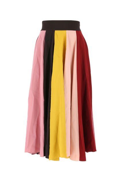 Multicolor stretch viscose skirt
