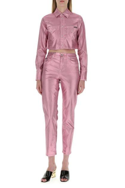 Pink stretch denim jacket