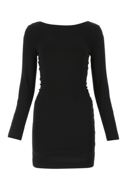 Black stretch viscose blend mini dress