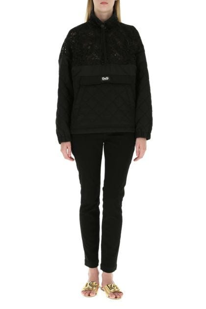 Black lace and nylon blend jacket