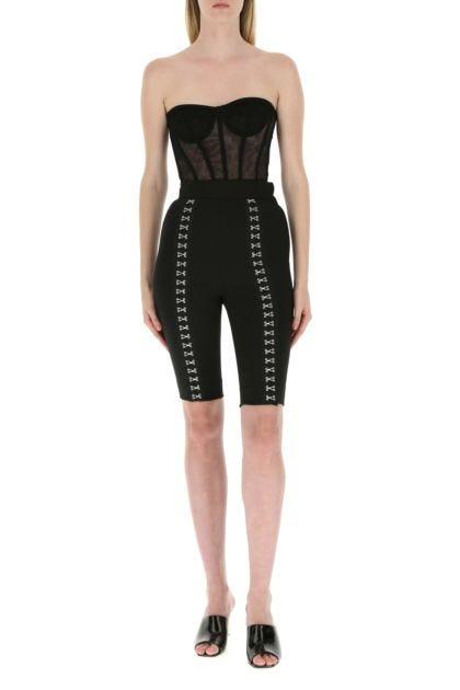 Black stretch wool blend leggings