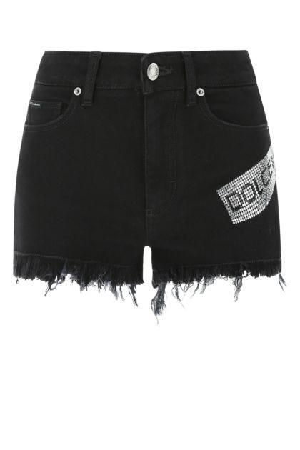 Black stretch denim shorts