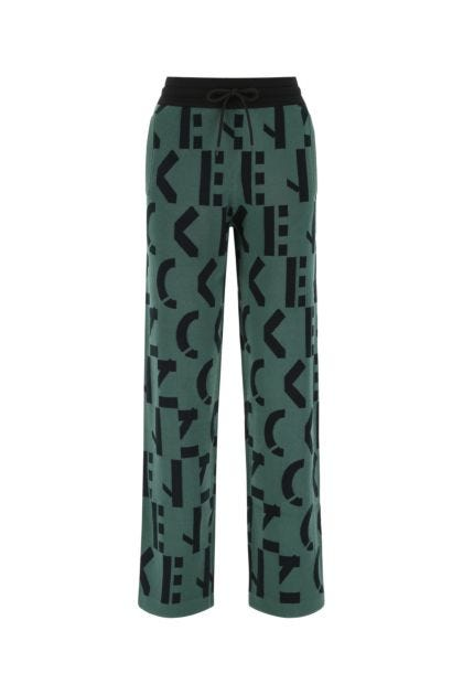 Embroidered stretch cotton blend joggers
