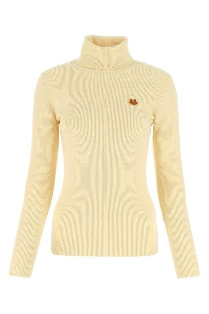 Pastel yellow stretch wool blend sweater