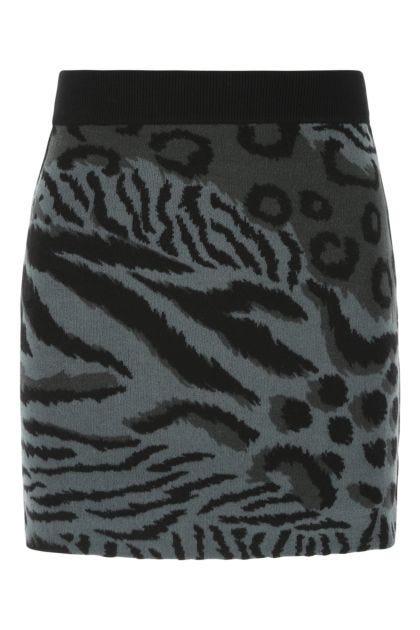 Embroidered wool blend mini skirt